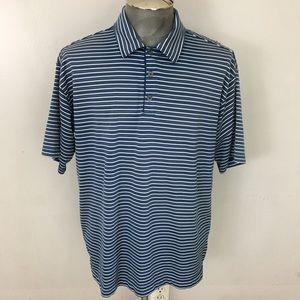 Nike Golf Polo Shirt Blue Striped Dri Fit UV Large